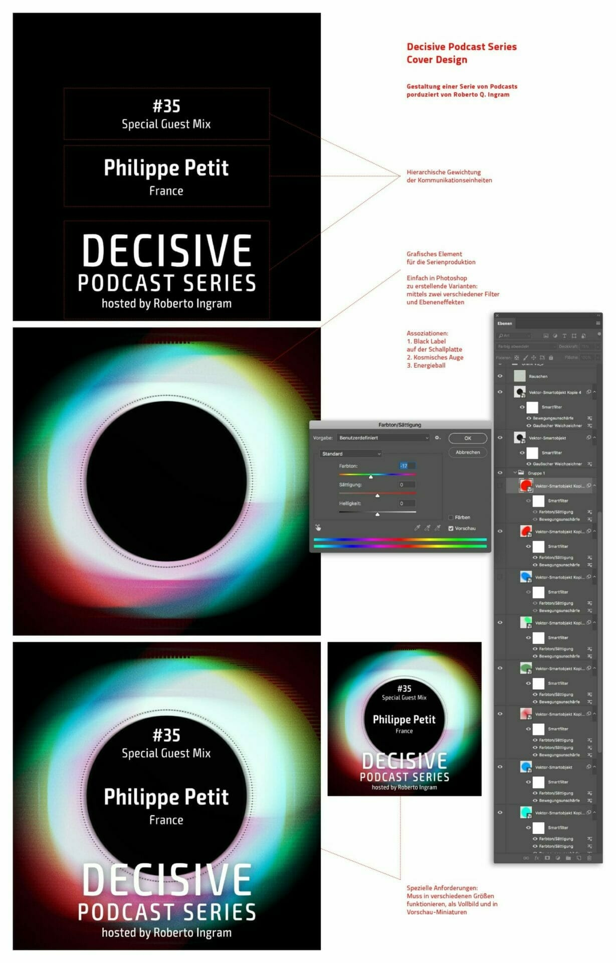 Grafisches Konzept für Decisive Podcast Series