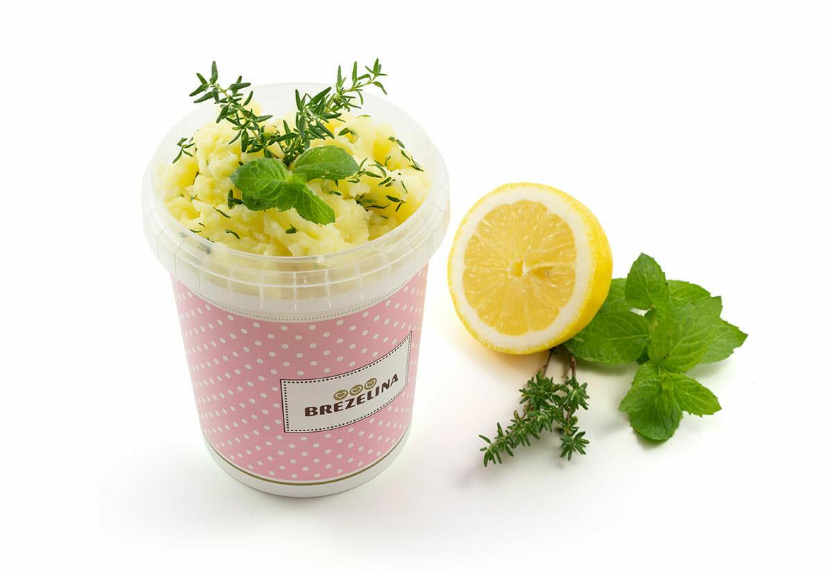 Brezelina Kartoffelpüree mit Zitronenöl, Minze und Thymian